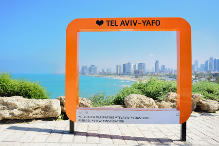TEL AVIV, ISRAEL - APRIL, 2017: place for photography on the background of the modern city of Tel Aviv. Style instagram.