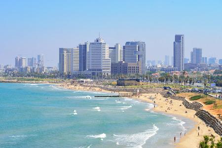TEL AVIV, ISRAEL - APRIL, 2017: View of the coastline of Tel Aviv from the observation deck in old Jaffa. Sajtókép