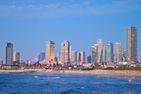 TEL AVIV, ISRAEL - APRIL, 2017: TEL AVIV, ISRAEL - APRIL, 2017: Evening view of the skyscrapers of Tel Aviv from the Mediterranean Sea.