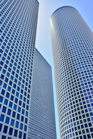 TEL AVIV, ISRAEL- APRIL, 2017: Azrieli Center at 187m, the round building is the tallest in Tel Aviv.