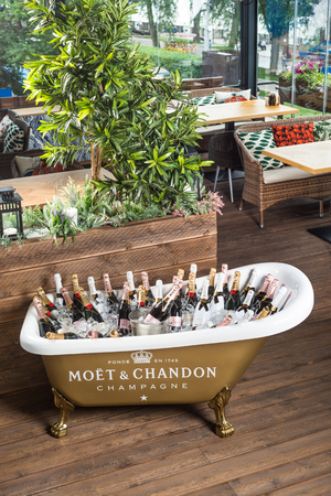 suite: ROSTOV-ON-DON, RUSSIA - JUNE 2017: The bath is filled with ice and champagne Editorial