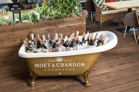 ROSTOV-ON-DON, RUSSIA - JUNE 2017: The bath is filled with ice and champagne Editorial
