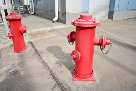 fireman: Red fire hydrant, fire safety system.