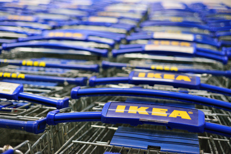 ROSTOV-ON-DON, RUSSIA - APRIL, 2017: Ikea trolleys. IKEA is the worlds largest furniture retailer and sells ready to assemble furniture. Founded in Sweden in 1943.