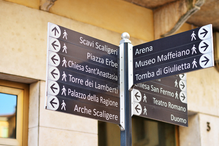 Signpost with landmarks of Verona, Italy.
