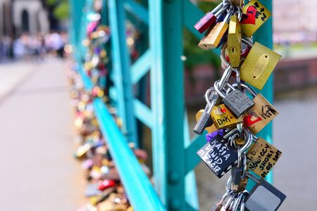 WROCLAW, POLAND - JUNE, 2017: The Famous Love Padlocks, which have been recently removed from Tumski Bridge. Stock Photo