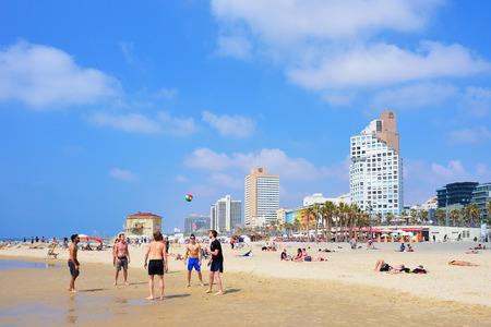 TEL AVIV, ISRAEL - APRIL, 2017: Tel Aviv beach with some of its hotels, Mediterranean sea.