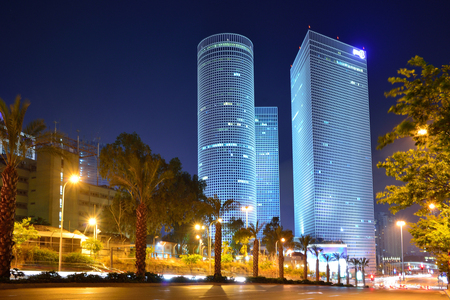 Night city, Azrieli center, Israel Reklamní fotografie - 85181564