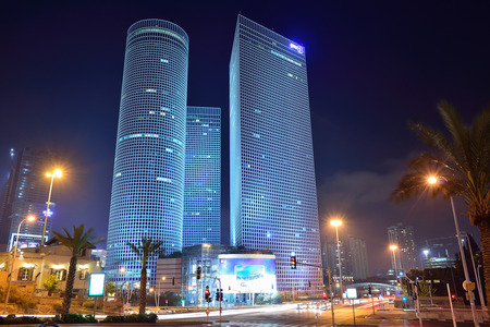 TEL AVIV, ISRAEL - APRIL, 2017:  Night city, Azrieli center, Israel