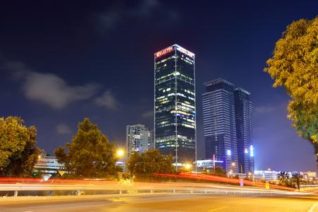 TEL AVIV, ISRAEL- APRIL, 2017:  Night view of modern part of the city of tel Aviv, Israel. Editorial