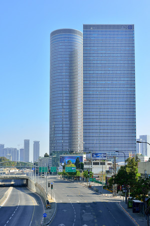 TEL AVIV, ISRAEL - APRIL, 2017:  Azrieli shopping center in Tel Aviv, Israel. Azrieli mall together with three tall office buildigs is the landmark of Tel Aviv.