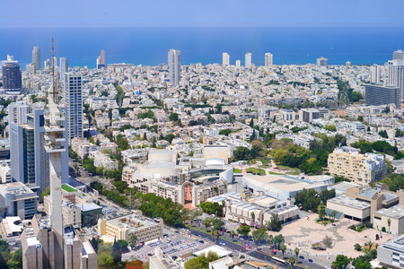 TEL AVIV, ISRAEL- APRIL, 2017:  Aerial panoramic view of the city buildings and private houses.