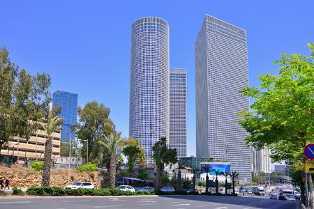 TEL AVIV, ISRAEL - APRIL, 2017:  Azrieli shopping center in Tel Aviv, Israel. Azrieli mall together with three tall office buildigs is the landmark of Tel Aviv.