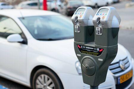 JERUSALEM, ISRAEL - APRIL 2017: Car and parking machine with electronic payment at Jerusalem parking