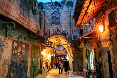 JERUSALEM, ISRAEL - APRIL 2017: Bazaar in old city Jerusalem at night