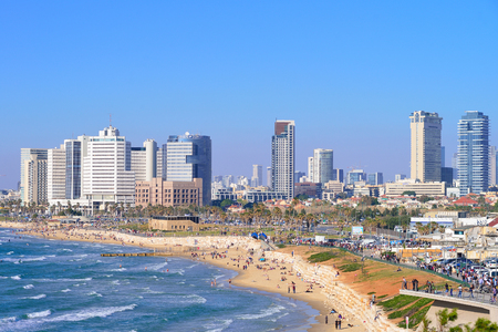 TEL AVIV, ISRAEL- APRIL, 2017: View of the skyscrapers of Tel Aviv from the Mediterranean Sea.