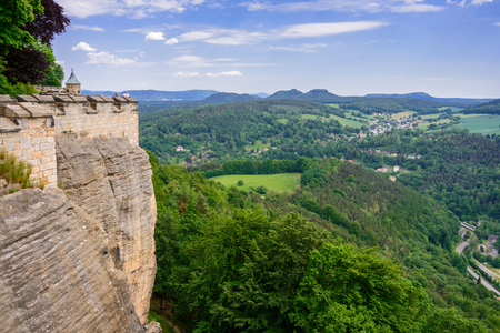 The German village of Hutten. Saxon Switzerland, Germany. View from the fortress Koenigstein. Fortress wall of the fortre