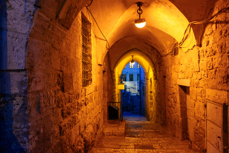 Mystical street at night in the old city of Jerusalem.