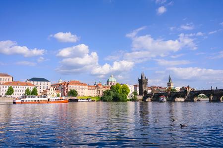 Prague panorama city skyline and Charles Bridge, Prague, Czech Republic Editorial