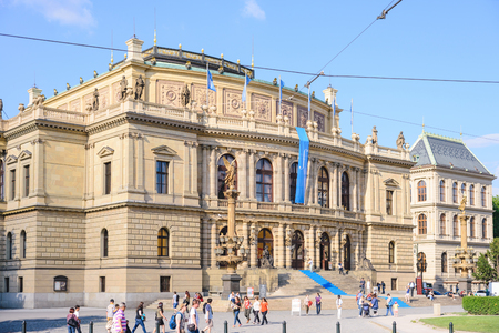 PRAGUE, CZECH REPUBLIC - MAY 2017: Rudolfinum in Prague, a concert and exhibition hall in the center of Prague, on the square now bearing the name of Jan Palach