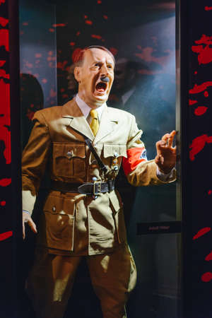 PRAGUE, CZECH REPUBLIC - MAY 2017: Adolf Hitler statue in the Madame Tussaud museum in Prague. Madame Tussaud museum is the museum of the wax figures Editorial