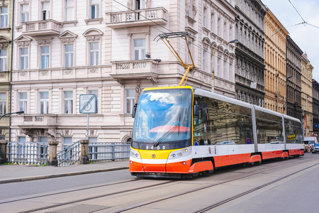 PRAGUE, CZECH REPUBLIC - MAY 2017: a modern new tram on the Prague street. Convenient and fast urban environmentally friendly transport.