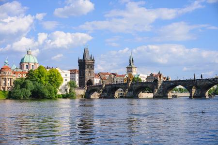 Prague panorama city skyline and Charles Bridge, Prague, Czech Republic Фото со стока