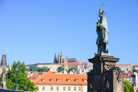 Statue of John of Nepomuk on the Charles bridge in Prague.