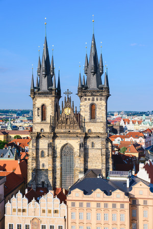Church of Virgin Maria Before Tyn, Prague, Czech republic. One of the main attractions of Prague. Imagens