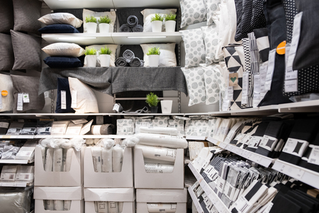 ST. PETERSBURG, RUSSIA - MARCH, 2019: Interior of elegant IKEA furniture store with bed linen and textiles for the house. Redakční