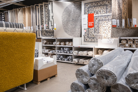 ST. PETERSBURG, RUSSIA - MARCH, 2019:  IKEA store room, exhibition department of carpets and floor coverings Redakční