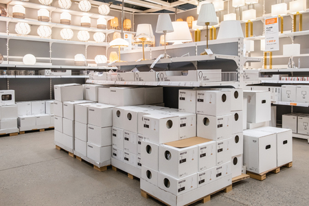 ST. PETERSBURG, RUSSIA - MARCH, 2019: Lamps and fixtures in the Ikea store. Ikea store is the worlds largest furniture retailer.