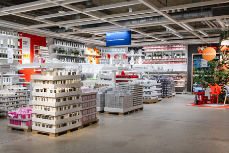 ST. PETERSBURG, RUSSIA - MARCH, 2019: Interior of elegant IKEA furniture store with scented candles and interior details.