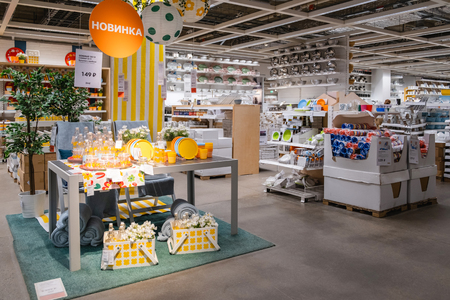 ST. PETERSBURG, RUSSIA - MARCH, 2019: Interior IKEA store, Department with utensils and useful things for the house.
