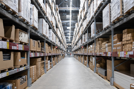 ST. PETERSBURG, RUSSIA - MARCH, 2019: Warehouse storage in an IKEA store. Founded in 1943, IKEA is the worlds largest furniture retailer. IKEA operates 351 stores in 43 countries.