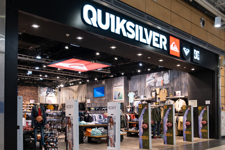 ST. PETERSBURG, RUSSIA - MARCH, 2019: Quiksilver store in Russia. Quiksilver, Inc. is an American retail sporting company