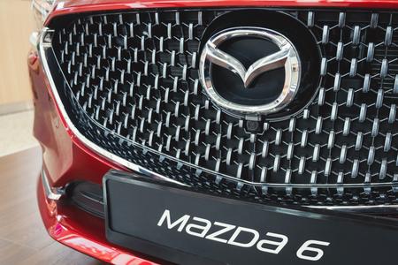 ST. PETERSBURG, RUSSIA - MARCH, 2019: Logo of Mazda car model 6