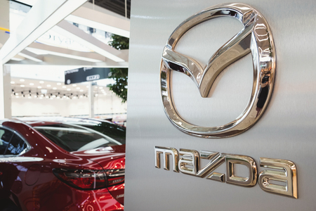 ST. PETERSBURG, RUSSIA - MARCH, 2019: Logo of Mazda car