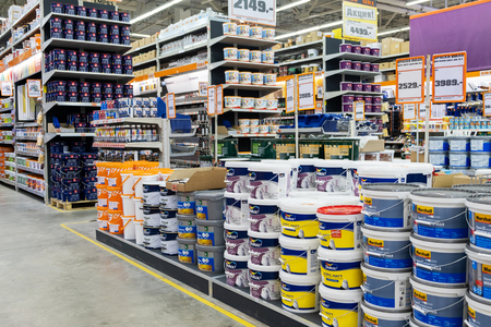 ST. PETERSBURG, RUSSIA - MARCH, 2019: hardware store, the shelves of varnishes and paints for your home. Redakční