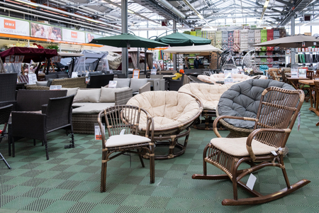 ST. PETERSBURG, RUSSIA - MARCH, 2019: Outdoor furniture in OBI store on display. Concept for summer shopping