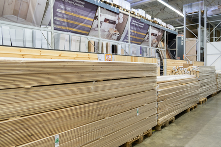 ST. PETERSBURG, RUSSIA - MARCH, 2019: Many wooden planks in hardware store Redakční