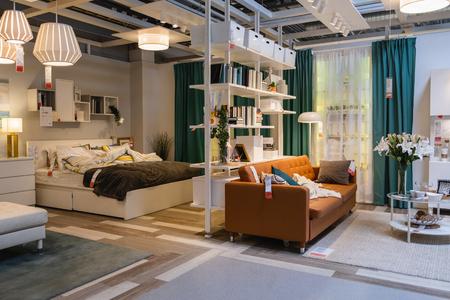 ST. PETERSBURG, RUSSIA - MARCH, 2019: IKEA store interior, bedroom furniture Department.