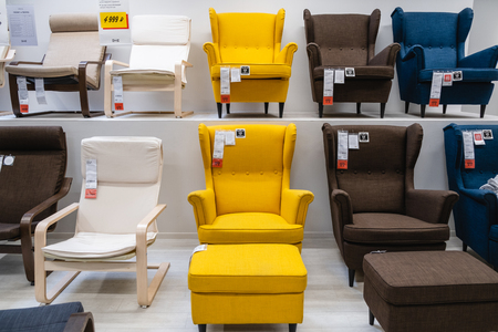 ST. PETERSBURG, RUSSIA - MARCH, 2019:  IKEA store room, large selection of chairs for the house. Redakční