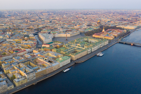 Aerial view cityscape of city center, Palace square, State Hermitage museum (Winter Palace), Neva river. Saint Petersburg skyline. SPb, Russia