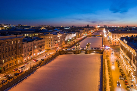 Aerial view on Lomonosov Bridge over the Fontanka River in St. Petersburg. Winter night.