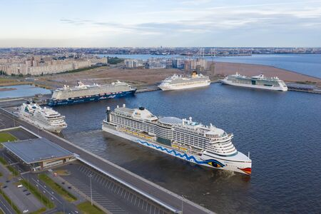ST. PETERSBURG, RUSSIA - JUNE, 2019: Passenger liner AIDA Prima departing from the passenger port of St. Petersburg. Sea port in the north of Russia.