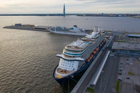 ST. PETERSBURG, RUSSIA - JUNE, 2019: Sea passenger berth. Sea liners. The best cruise line of the world. Cruise ships in the international port of St. Petersburg. Russia, port Sea Facade