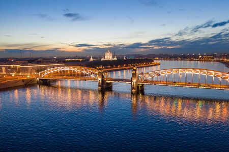 St. Petersburg, view from a height of the Bolsheokhtinsky bridge and Smolny Cathedral. White nights in Petersburg. Tourist attraction.