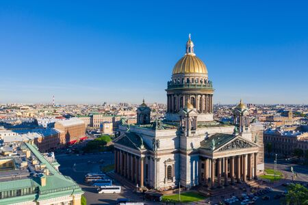 ST. PETERSBURG, RUSSIA - MAY, 2019:  Saint Petersburg. Saint Isaac's Cathedral. Museums of Petersburg. St. Isaac's Square. Summer in St. Petersburg. St. Aerial view frome drone. Russia