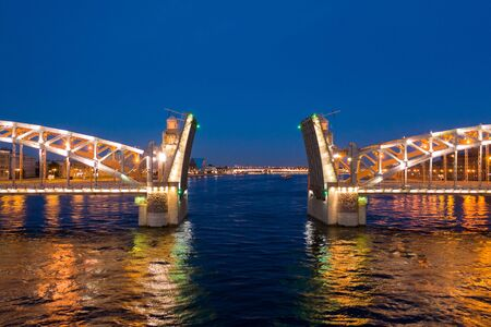 St. Petersburg, white nights, divorced spans Bolsheokhtinsky bridge. The main attraction of summer Petersburg. 写真素材